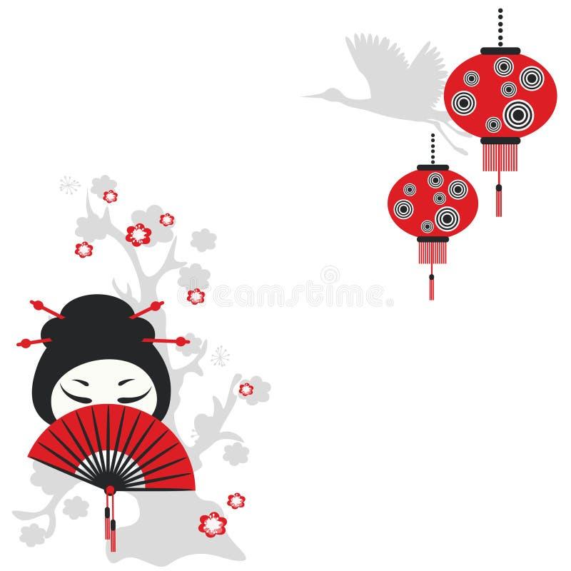 Muchacha china con un ventilador stock de ilustración