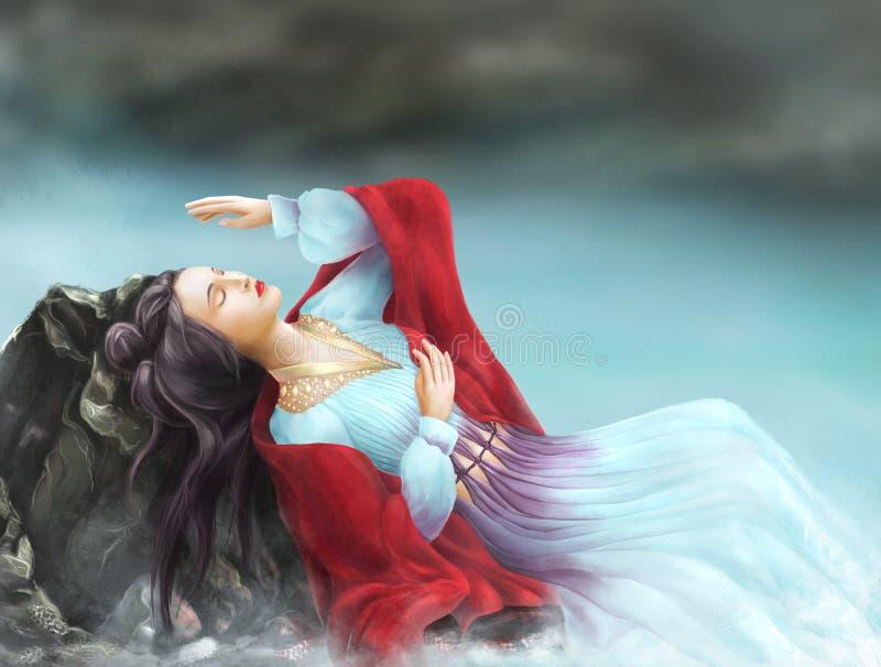 Muchacha china en vestido azul ilustración del vector