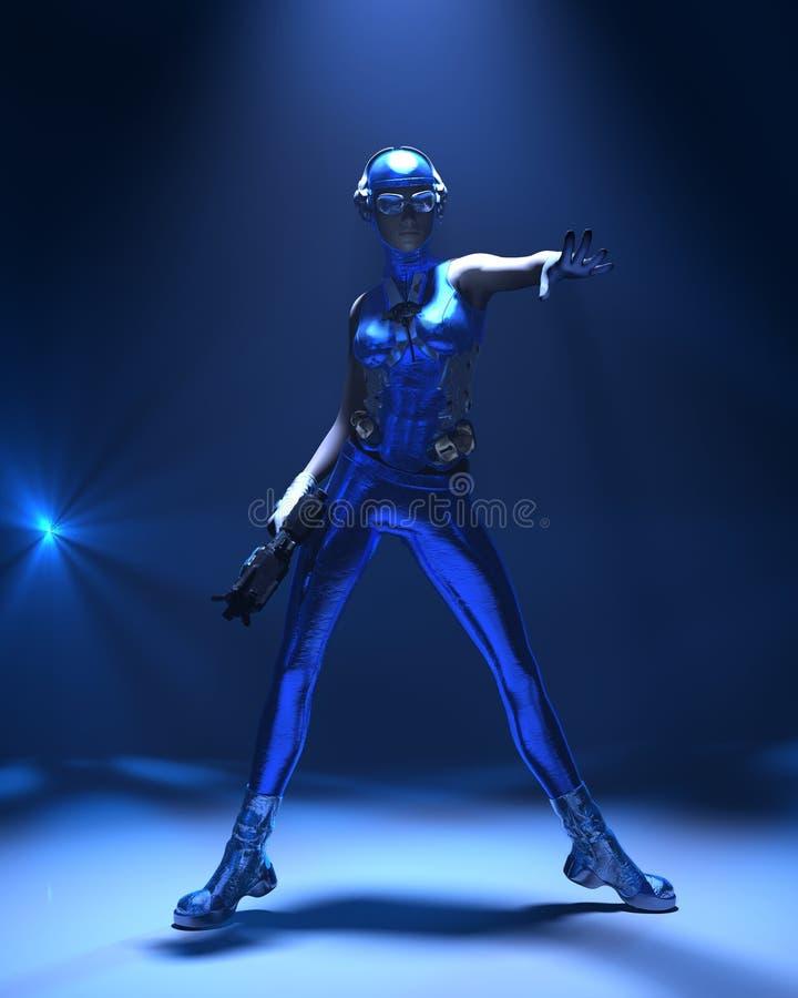 Muchacha cibernética azul de la ciencia ficción del equipo ilustración del vector