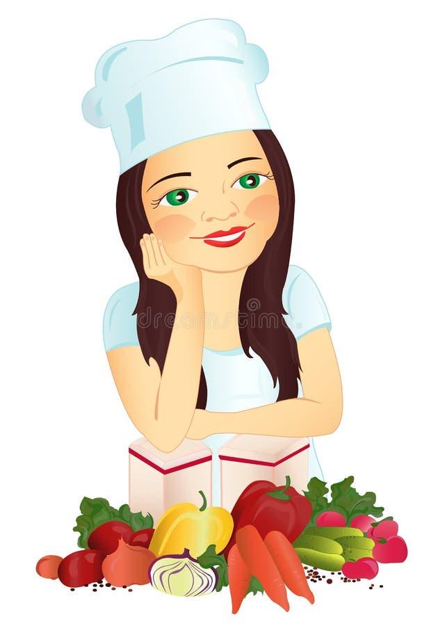 Muchacha-cocine stock de ilustración