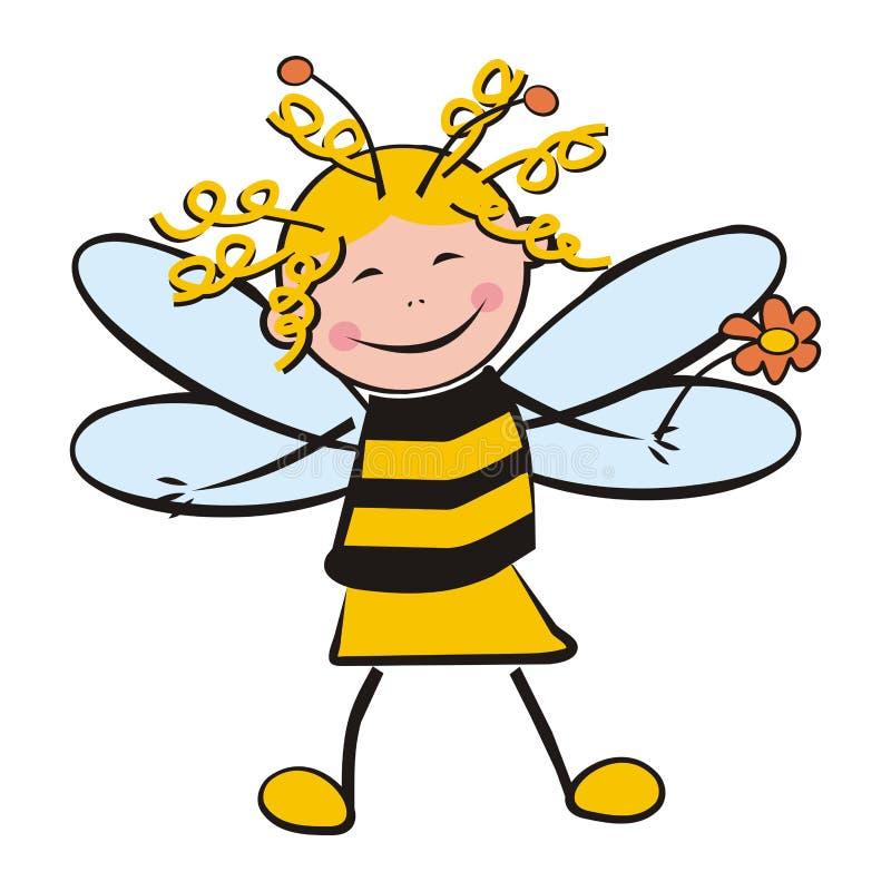 Muchacha como abeja ilustración del vector