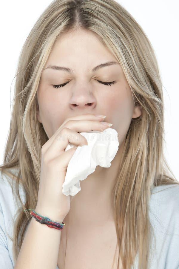Muchacha con alergias imagenes de archivo