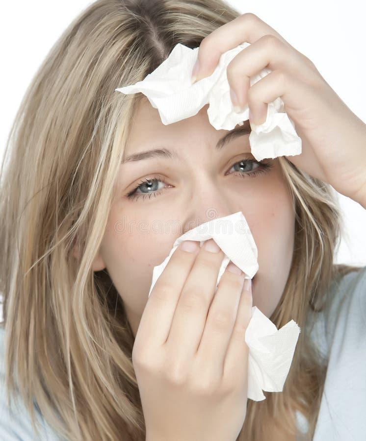 muchacha con alergias foto de archivo
