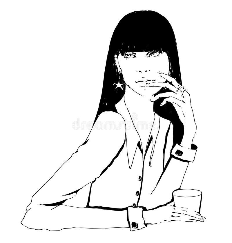 Muchacha con café stock de ilustración