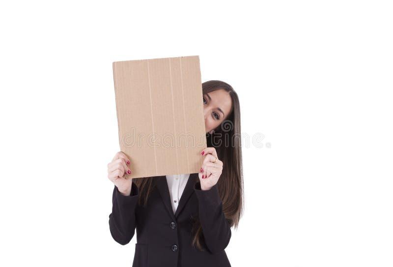 Muchacha con cartulina foto de archivo libre de regalías