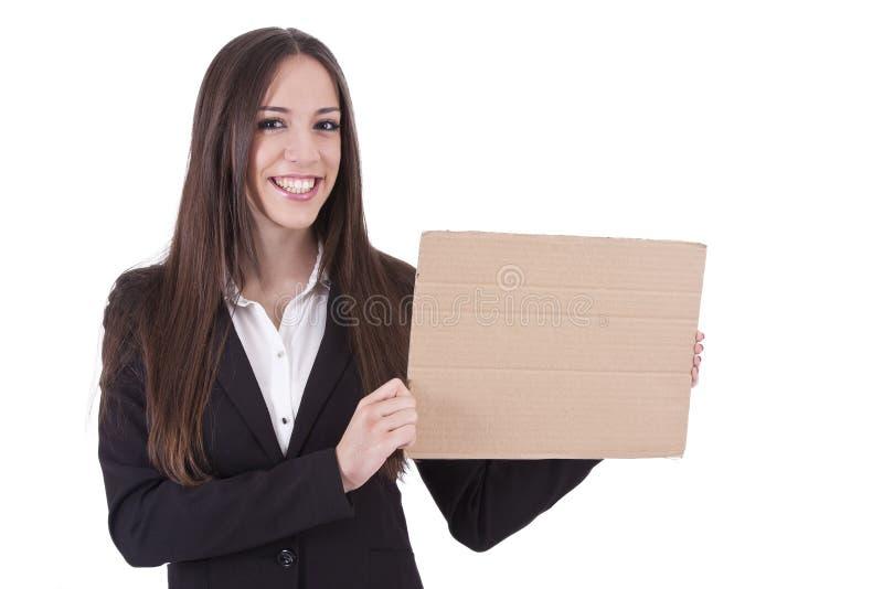 Muchacha con cartulina foto de archivo