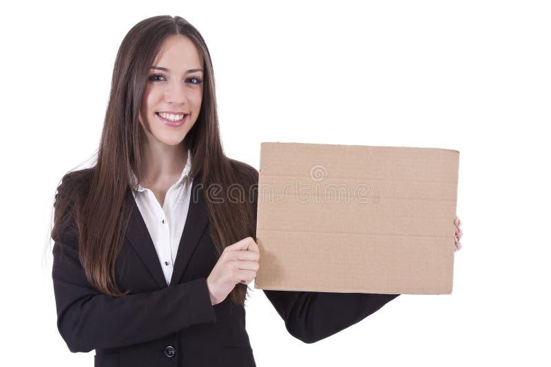 Muchacha con cartulina imagen de archivo libre de regalías