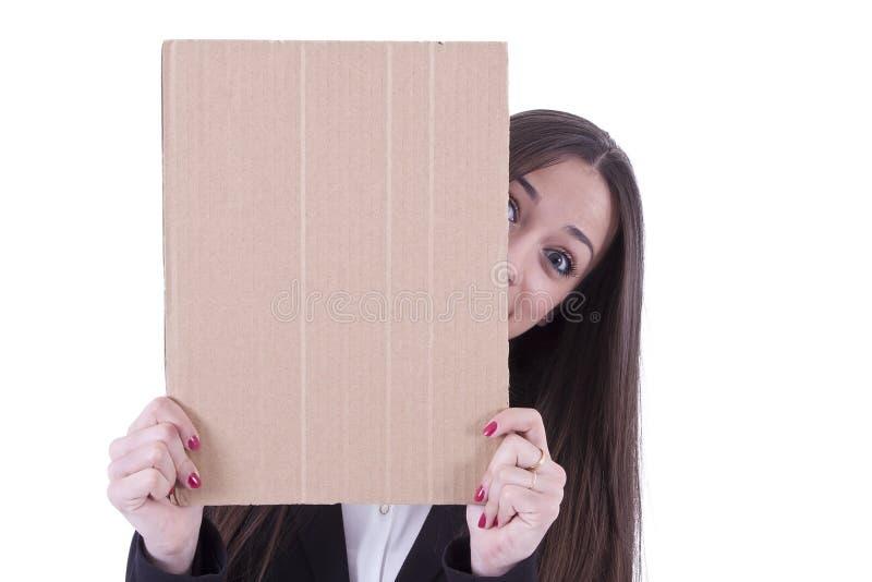 Muchacha con cartulina imagen de archivo