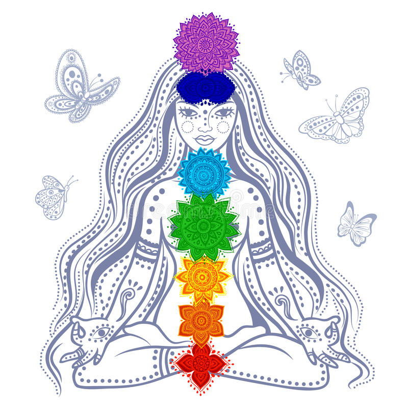 Muchacha con 7 chakras stock de ilustración