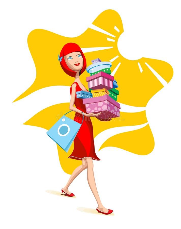 Muchacha con compras ilustración del vector