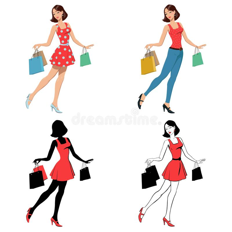 Muchacha con compras del bolso imágenes de archivo libres de regalías