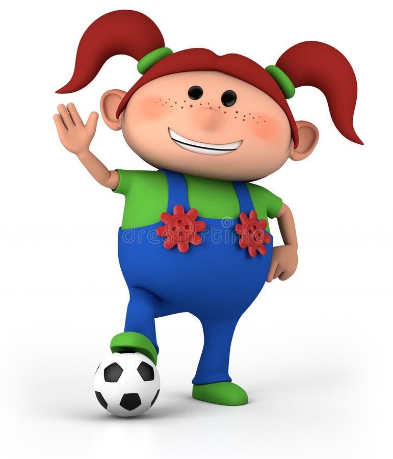 Muchacha con el balón de fútbol stock de ilustración