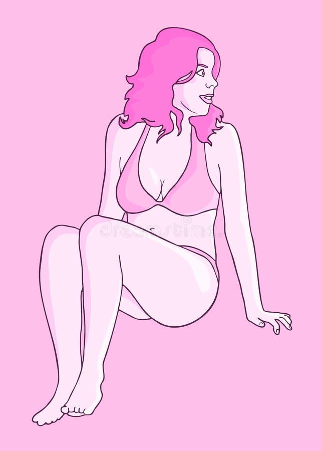 Muchacha con el bikini rosado ilustración del vector