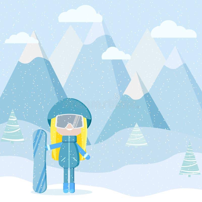 Muchacha con el equipo del snowbord en el ejemplo del vector del centro turístico libre illustration