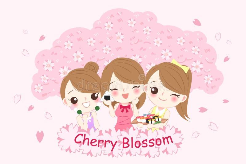 Muchacha con el flor del chery stock de ilustración