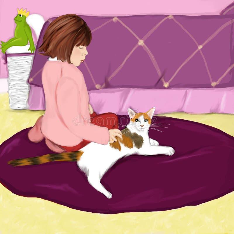 Muchacha con el gato ilustración del vector