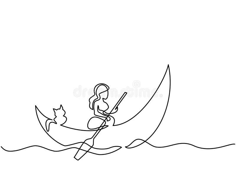 Muchacha con el gato en la luna del bote libre illustration
