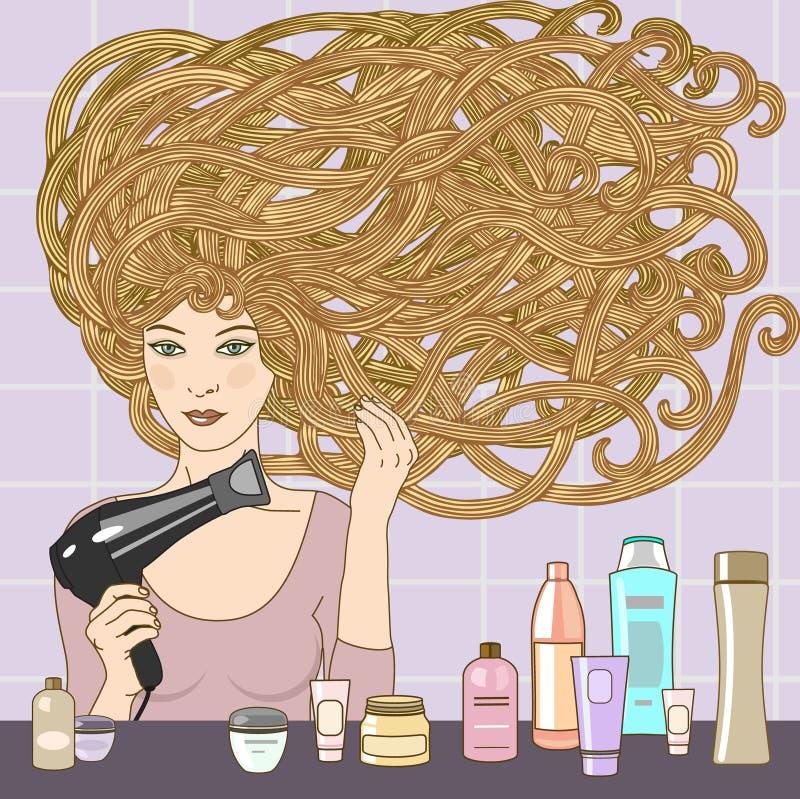 Muchacha con el hairdryer libre illustration