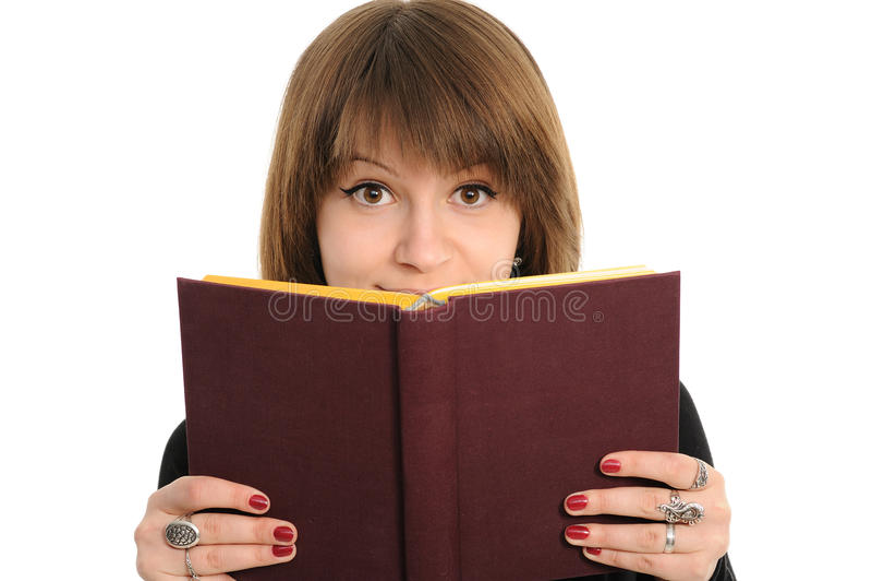Muchacha con el libro foto de archivo