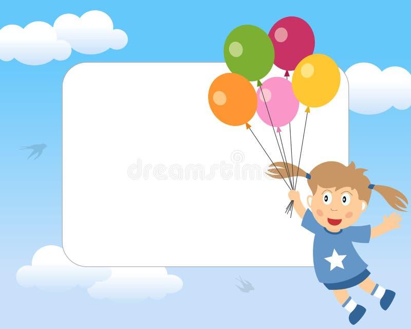 Muchacha con el marco de la foto de los globos ilustración del vector