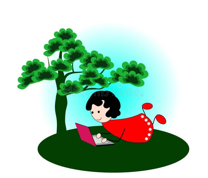 Muchacha con el ordenador portátil debajo de un árbol stock de ilustración