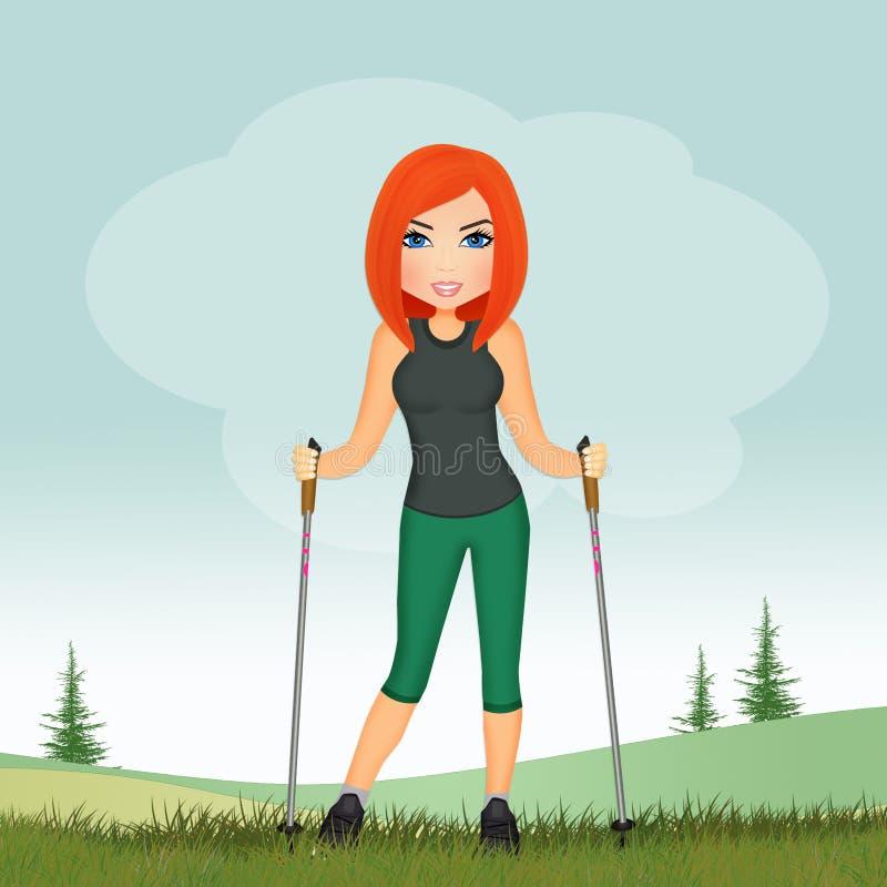 Muchacha con el palillo para caminar nórdico stock de ilustración