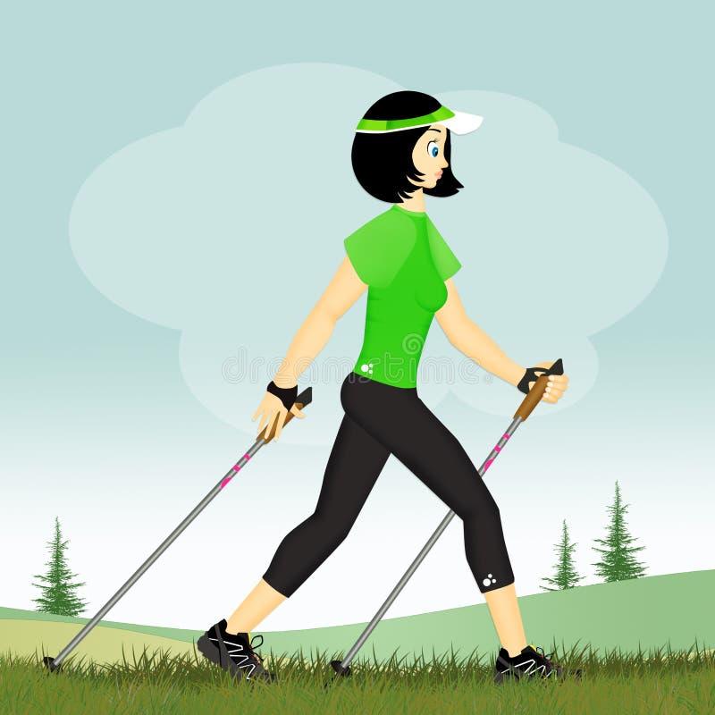 Muchacha con el palillo para caminar nórdico libre illustration