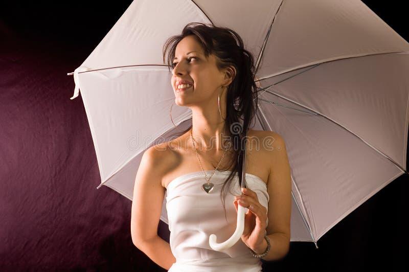 Muchacha con el paraguas fotografía de archivo libre de regalías