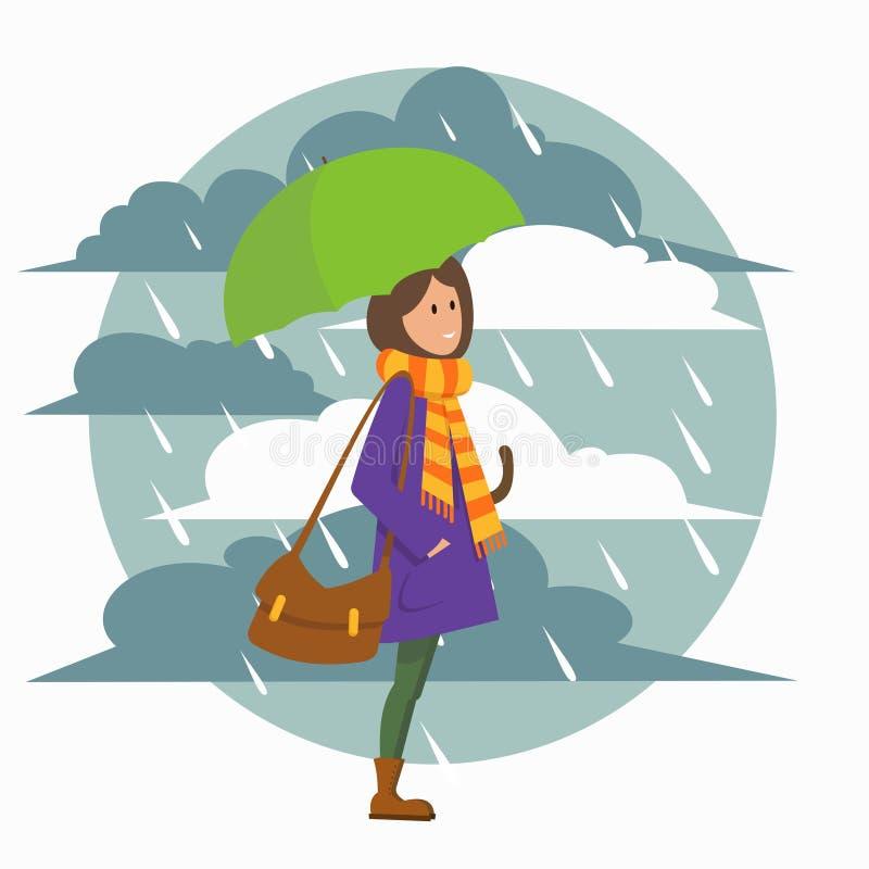 Muchacha con el paraguas ilustración del vector