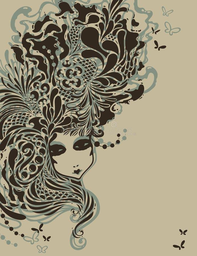 Muchacha con el peinado rococó estilizado. libre illustration