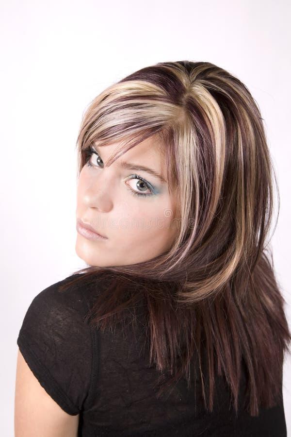 Muchacha con el pelo coloreado imagenes de archivo