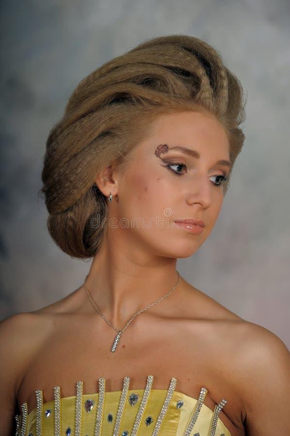 Muchacha con el pelo de Brown fotos de archivo