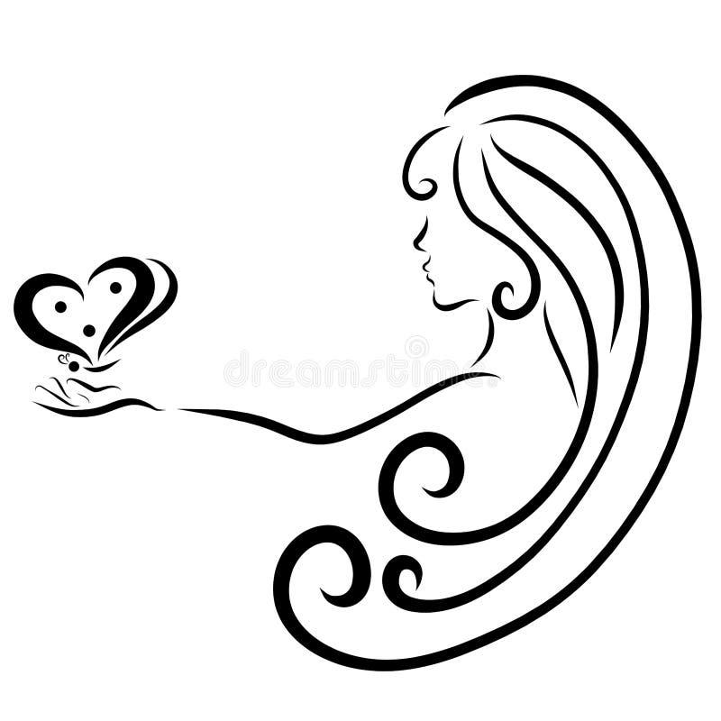 Muchacha con el pelo largo con una mariposa en su mano, creativa, logotipo ilustración del vector