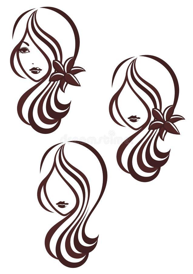 Muchacha con el pelo largo y un lirio