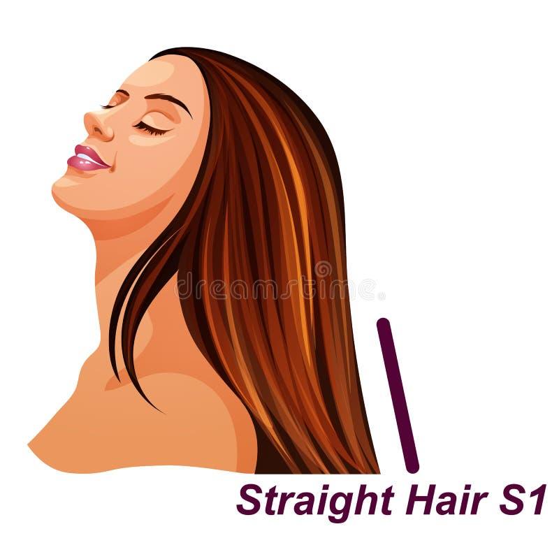 Muchacha con el pelo moreno recto largo de lujo stock de ilustración