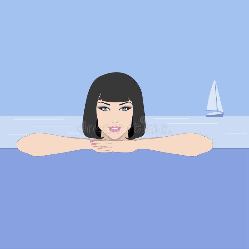 Download Muchacha Con El Pelo Negro En Fondo Del Mar Ilustración del Vector - Ilustración de fondo, yate: 41904311