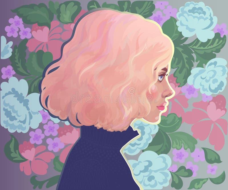 Muchacha con el pelo rosado en el fondo de flores libre illustration