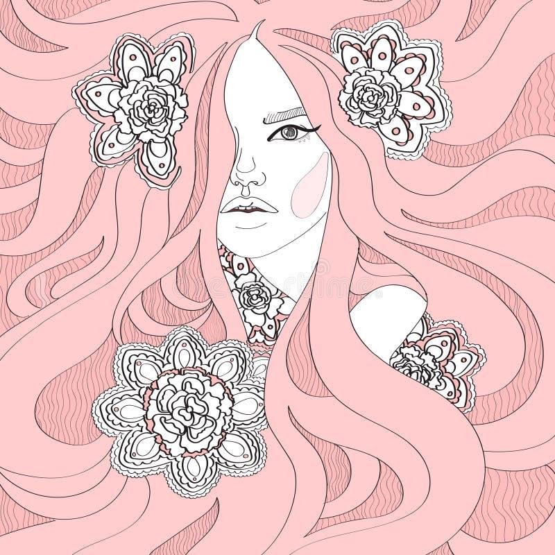 Muchacha con el pelo rosado largo ilustración del vector