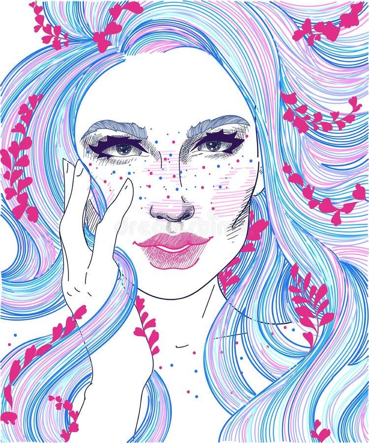 muchacha con el pelo y las puntillas largos coloreados de flores en ellas ilustración del vector