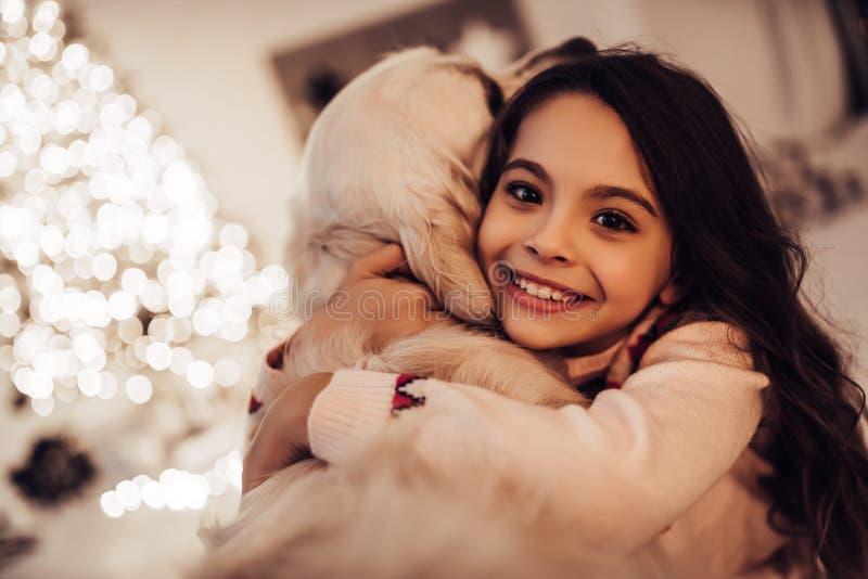 Muchacha con el perro en el ` s Eve del Año Nuevo fotos de archivo libres de regalías
