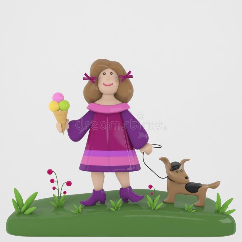 Muchacha con el perro y el helado imagenes de archivo