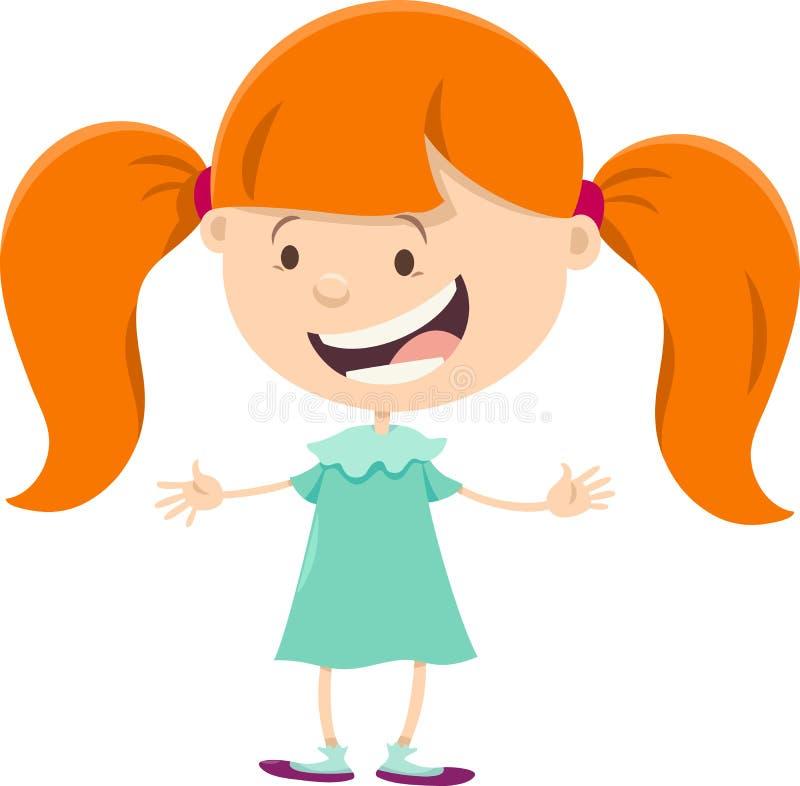 muchacha con el personaje de dibujos animados de las coletas ilustración del vector