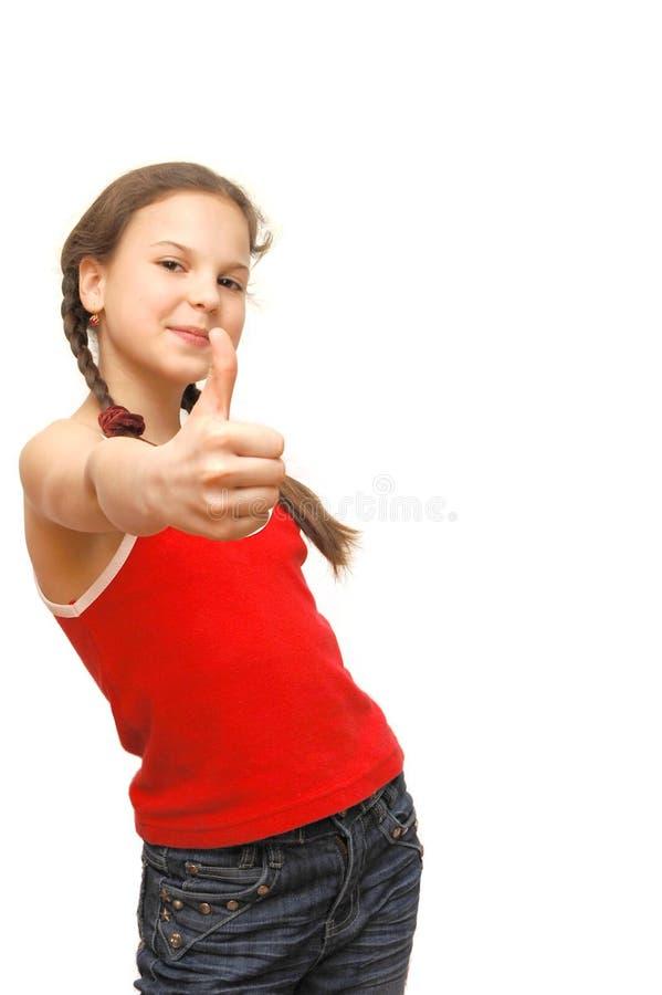 Muchacha con el pulgar para arriba fotografía de archivo libre de regalías