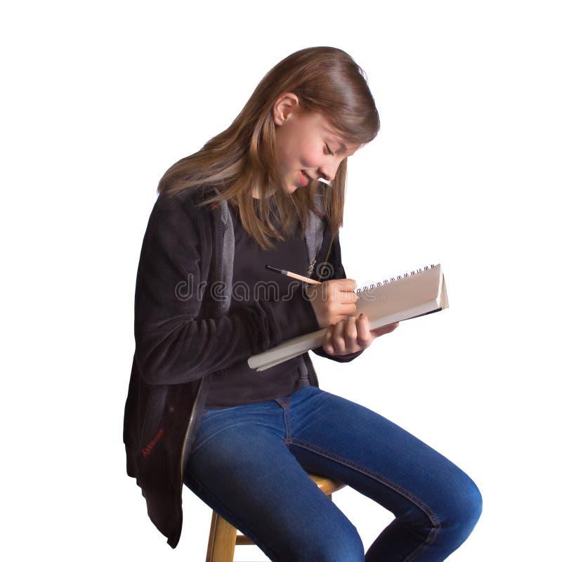 Muchacha con el Sketchbook imagenes de archivo