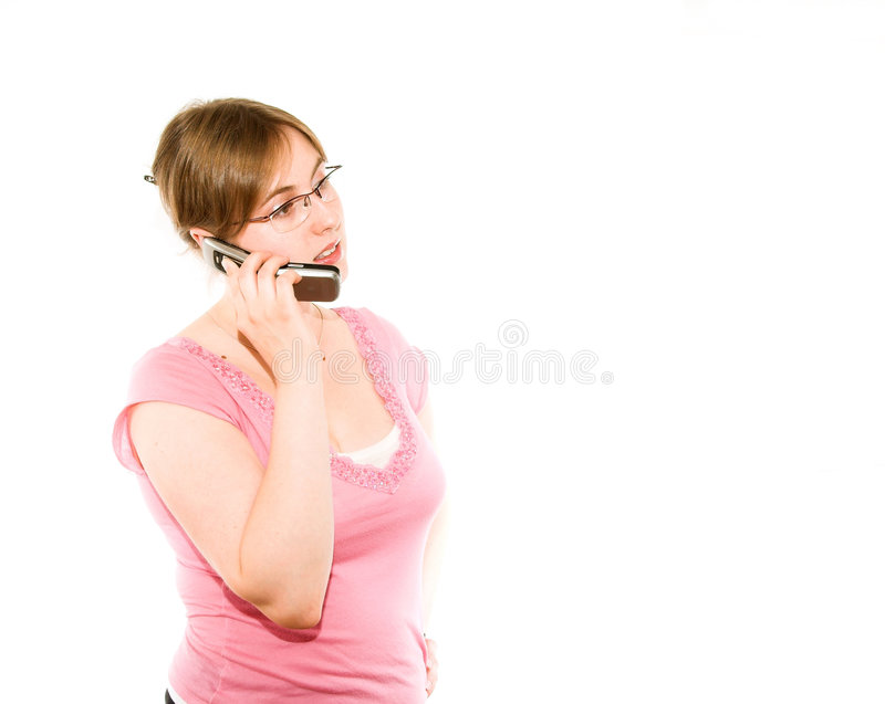 Muchacha con el teléfono foto de archivo libre de regalías
