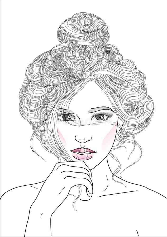 muchacha con el topetón del haz del pelo libre illustration