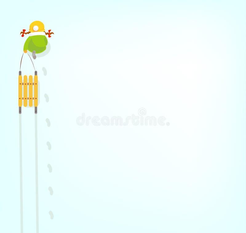 Muchacha con el trineo en nieve ilustración del vector