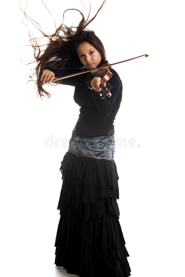 Muchacha con el violín foto de archivo