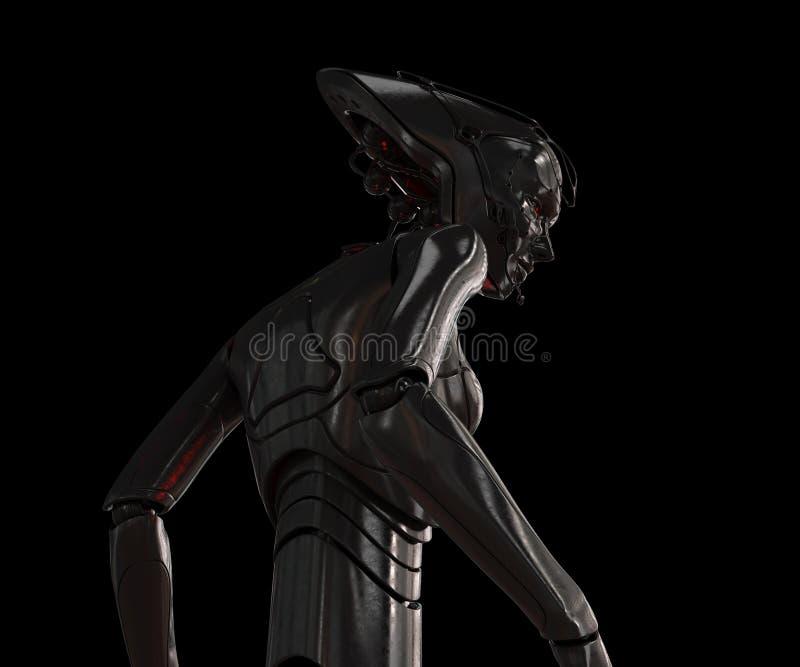 Muchacha con estilo del cyber en negro libre illustration