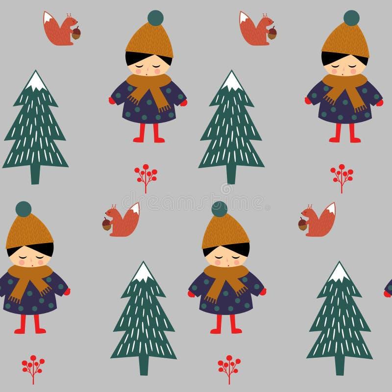 Muchacha con la ardilla en modelo inconsútil del bosque en fondo gris stock de ilustración